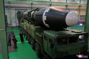 The front part of the Hwasong-15 intercontinental ballistic missile (ICBM) is round shaped and relatively blunt.