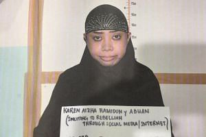 Karen Hamidon faces charges of inciting to rebellion for allegedly urging ISIS followers to travel to Marawi to fight troops.