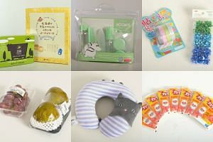 Products from Don Don Donki (left), Miniso (centre) and Daiso (right).