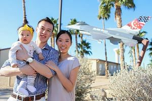 Fighter pilot Cedric Goh with his wife Lissa Low and baby Joy. He began his stint at the Luke Air Force Base in Phoenix in January last year.