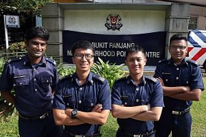 (From far left) Sgt Prem Rengasamy, Staff Sgt Chan Wai Hong, Staff Sgt Stanley Koh and Special Constable Corporal Rajdave Singh worked together with a HDB flat resident to rescue the maid on Wednesday.