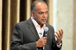 File photo of Home Affairs and Law Minister K. Shanmugam speaking at a forum on Sept 8, 2017.