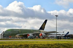 An unfinished Singapore Airlines A380 parked at Airbus Facility Centre at Toulouse, France on Dec 12, 2017.