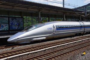 "File photo of a ""shinkansen"" bullet train in Japan."