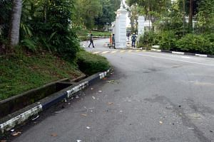 The driver and a passenger were taken to hospital after a car crash outside the Istana on Dec 16, 2017.
