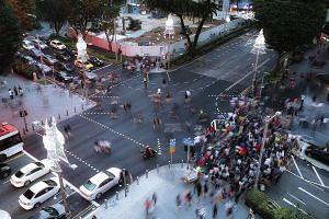 Yesterday was the first time shoppers could cross the Cairnhill Road-Orchard Road intersection diagonally. The trial, to make the shopping precinct more pedestrian-friendly, will take place every weekend and public holiday until Jan 28.