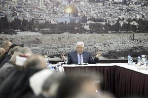Palestinian President Mahmoud Abbas attending a meeting of the Palestinian Leadership, at his presidency compound in the West Bank town of Ramallah, on Dec 18, 2017.