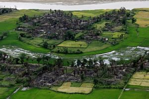 An aerial view of a burned Rohingya village near Maungdaw in Myanmar's northern Rakhine state, the epicentre of a violent military crackdown that triggered a mass exodus of the Muslim minority.
