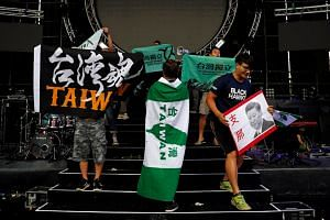 """Students protest against popular Chinese talent show """"Sing! China"""" at National Taiwan University in Taipei on Sept 24, 2017. Relations between China and Taiwan worsen as China conducted drills around Taiwan for the sixth time this month."""