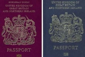 The blue and gold passport design used by Britain for decades since 1921 (right) until it adopted the current burgundy colour, which is used across the EU.