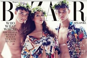 From left: Ikhsan, Iman and Irfan Fandi on the cover of the January 2018 edition of Harper's Bazaar. Fandi's sons are not just making their mark on the pitch but also in fashion.