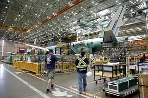 Boeing's production facility in Everett, Washington, in the United States. Boeing claimed in an April 27 complaint that it had been illegally harmed by Canadian jet-maker Bombardier's 2016 deal with Delta Air Lines for 75 CS100 jetliners, asking for