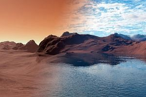 An illustration of how Mars would have looked like without and with water. Scientists thought the water on Mars had evaporated into the atmosphere but found that its porous geology likely soaked up much of the planet's water.