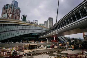 The construction site of the West Kowloon terminus of the high-speed rail link in Hong Kong, which will connect the city to Guangzhou.