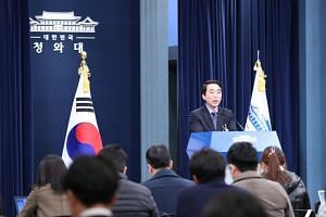 Presidential spokesman Park Soo Hyun announcing the stance of President Moon Jae In on the outcomes of a Foreign Ministry task force's five-month review of a 2015 Korea-Japan comfort women deal at the presidential office in Seoul on Dec 28, 2017.
