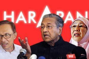 (From left) Datuk Seri Anwar Ibrahim, Tun Dr Mahathir Mohamad and Datuk Seri Dr Wan Azizah Wan Ismail.