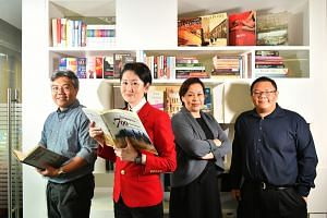 (From left) The Singapore Bicentennial Office's project director Wan Wee Pin, executive director Gene Tan, assistant director of Content & Exhibitions Yueh Siang Chang and manager of Content & Exhibitions Joshua Sim.