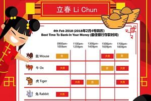 Banking one's money at the appropriate timings according to the Chinese zodiac on Li Chun is considered auspicious.