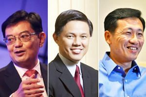 (From left) Finance Minister Heng Swee Keat, Minister in the Prime Minister's Office Chan Chun Sing and Education Minister (Higher Education and Skills) Ong Ye Kung are widely regarded as those who are in contention for the job of Singapore's next pr