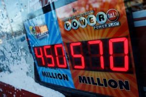 A sign advertising the Powerball lottery draw is seen outside a store in Port Washington, New York, on Jan 6, 2018.