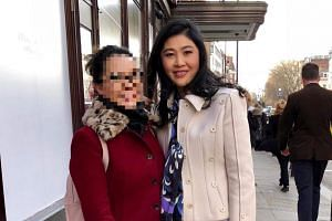 Ousted former Thai prime minister Yingluck Shinawatra was apparently spotted outside the Harrods luxury departmental store in London.
