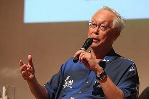 Mr Goh Chok Tong at the youth awards ceremony yesterday in his Marine Parade constituency.