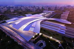 Artist's impression of the upcoming Iskandar Puteri High Speed Rail station in Johor, Malaysia.