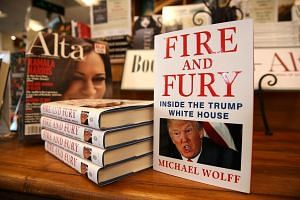 Copies of the book Fire And Fury by author Michael Wolff displayed at a store in California.