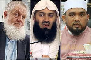 (From left) Foreign preachers Yusuf Estes, Ismail Menk and Haslin Baharim were barred from entering Singapore over their teachings.