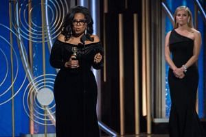 Oprah Winfrey accepting the Cecil B. DeMille Award for her 'outstanding contribution to the entertainment field' during the 75th annual Golden Globe Awards ceremony on Jan 8, 2018.
