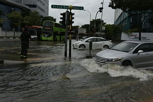 A flash flood in Upper Changi Road on Jan 8.