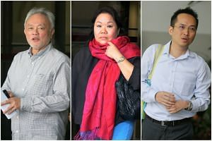 (From left) Andrew Lim Ann Hoe, Goh Seow Mooi and Chin Ming Kam were charged for allegedly promoting a pyramid scheme, on Jan 9, 2018.