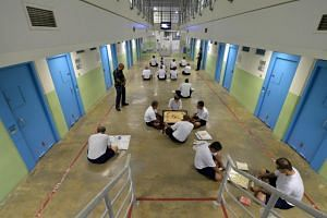 Inmates at Changi Prison Complex. Criminal activities such as unlicensed moneylending, drug trafficking, and kidnapping can now result in detention without trial.