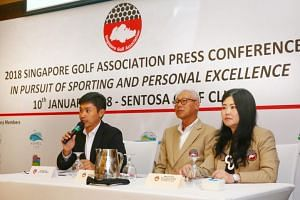 (From left) Mr Jerome Ng, Acting General Manager, Mr Ross Tan, SGA President, and Mrs Lyn Sen, executive board member and SGA Junior Development Sub-committee Chair at the press conference at Sentosa Golf Club on Jan 10, 2018.