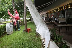 House of Seafood in Punggol faces the sea, and has experienced a 30 per cent drop in the number of customers due to the winds and rain since December.