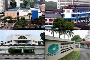 As a result of the impending merger of eight JCs - including (clockwise from top left) Anderson JC, Yishun JC, Tampines JC and Jurong JC -  the cut-off points for junior colleges may rise this year.