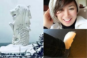 (Clockwise from left) A merlion blanketed in snow,   local actress Vernetta Lopez dons a beanie, and Fox Sports Asia presenter Jason de la Pena brings out his thick, padded socks.