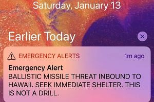 A screen capture from a Twitter account showing a missile warning for Hawaii, Jan 13, 2018.