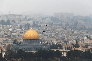 The Dome of the Rock, located in Jerusalem's Old City, in the compound known to Muslims as Noble Sanctuary or Al haram al Sharif, and to Jews as Temple Mount.