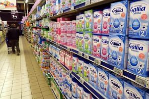Baby milk products recommended by the French Pediatric Society to replace Lactalis brand products on display at a supermarket in Nice, France on Jan 12, 2018.