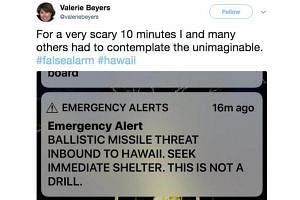 A screen capture from a Twitter account showing a missile warning for Hawaii, on Jan 13, 2018.