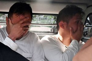 Tiah Kok Hwee (left) and Cai Zhi Zhong are among the 14 men who were charged last week in connection with the misappropriation of fuel from Shell.