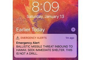 """A screen capture from a Twitter account shows a missile warning for Hawaii on Saturday. The US Federal Communications Commission (FCC) said it was opening a """"full investigation into what happened""""."""