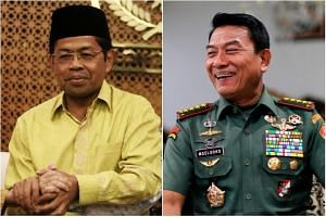 New additions to Indonesian President Joko Widodo's Cabinet include Golkar Party's Secretary General Idrus Marham (left) and former Indonesian Armed Forces chief General Moeldoko.