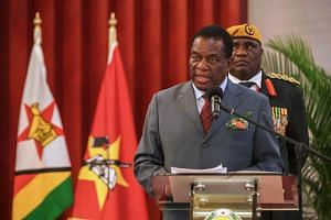 Zimbabwean President Emmerson Mnangagwa gives his remarks during his state visit to Mozambique on Jan 17, 2018.