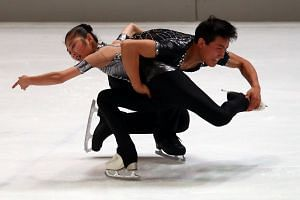 Ryom Tae Ok and Kim Ju Sik of North Korea perform during their pairs short program of the 49th Nebelhorn trophy figure skating competition in Oberstdorf, Germany, on Sept 28, 2017.