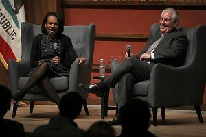 Mr Rex Tillerson and former US secretary of state Condoleezza Rice discussed Syria policy at Stanford University on Wednesday.