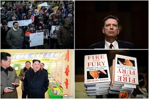 (Clockwise from left) People protesting US President Trump's travel ban in New York, Former FBI director James Comey, the controversial book Fire And Fury: Inside The Trump White House, and North Korean leader Kim Jong Un.
