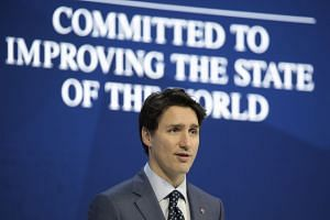 Canada PM Justin Trudeau speaking during the opening day of the World Economic Forum.