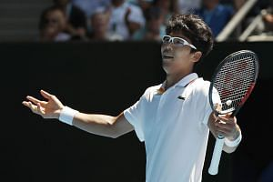 Chung Hyeon of South Korea reacts during his match against Tennys Sandgren of the US.